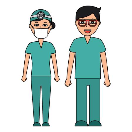 医師病院スタッフベクトルイラストの専門家カップル