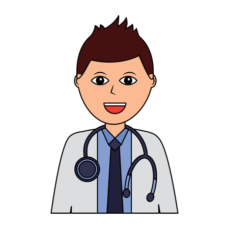 Doctor physician medical staff portrait character vector illustration