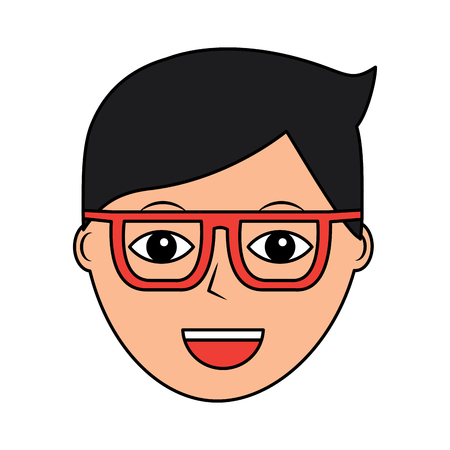 Cartoon face man male character person vector illustration