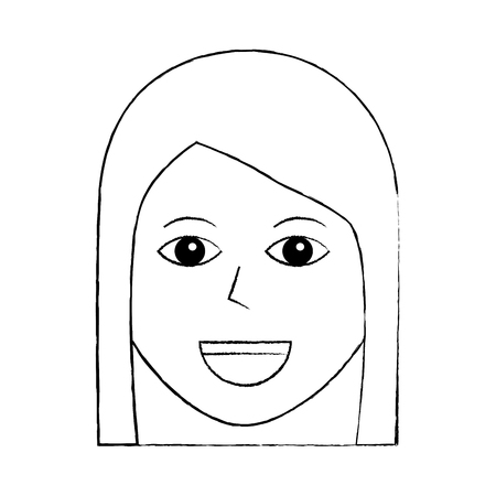 Illustrazione di vettore dell'icona femminile del carattere felice della donna Archivio Fotografico - 92176734