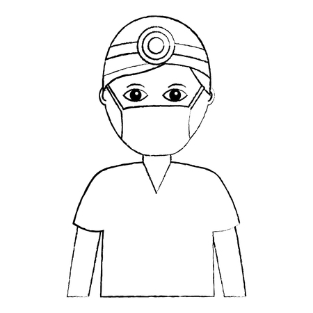 professional surgeon medical uniform clothes vector illustration