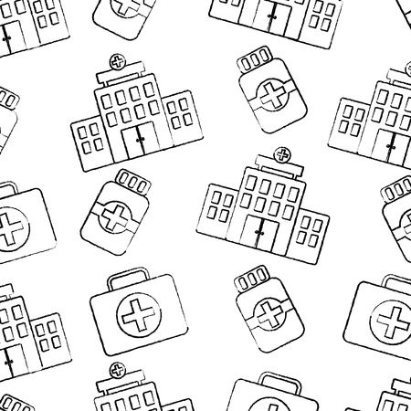 hospital first aid kit medication bottle healthcare pattern image vector illustration design  black sketch line
