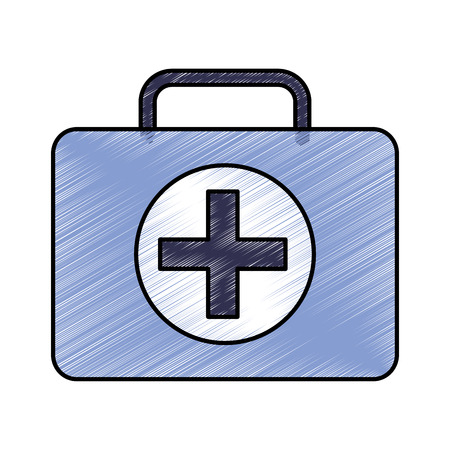 first aid kit healthcare icon image vector illustration design  sketch style 向量圖像