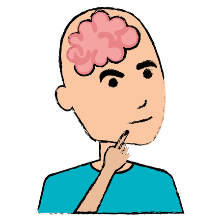 brain storming with human profile vector illustration design