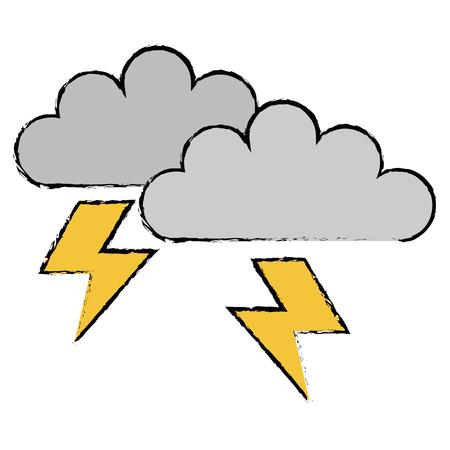 雲嵐電気アイコンベクトルイラストデザイン  イラスト・ベクター素材
