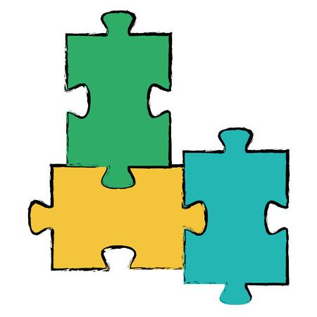 퍼즐 조각 격리 된 아이콘 벡터 일러스트 디자인