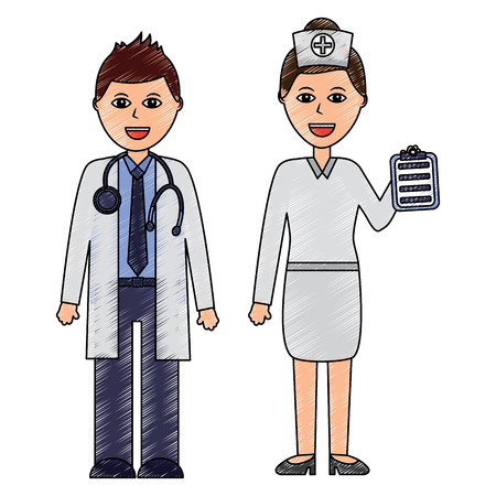 doctors man and woman  healthcare icon image vector illustration design  sketch style