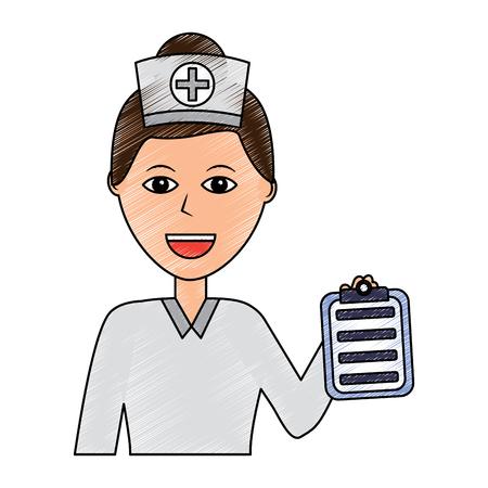 nurse woman healthcare icon image vector illustration design  sketch style Illustration