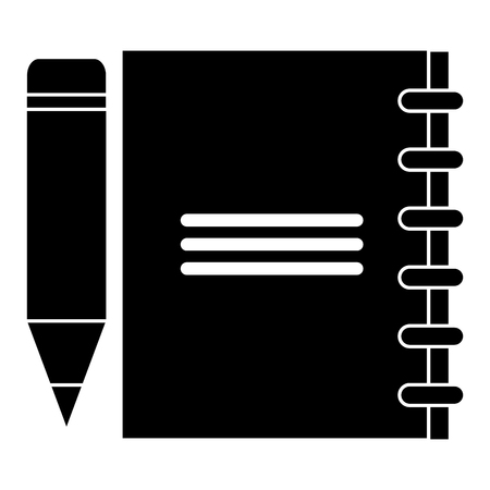 sheet of notebook with pencil icon vector illustration design