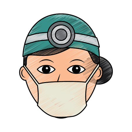 doctor woman  healthcare icon image vector illustration design  sketch style