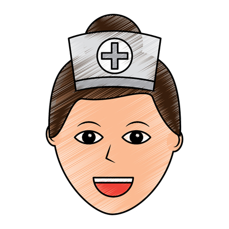 nurse woman healthcare icon image vector illustration design  sketch style Illustration