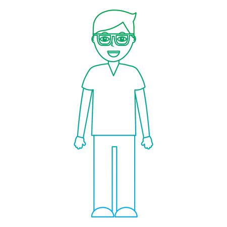 Glücklicher Mann mit Brille Symbol Bild Vektor-Illustration Design grün bis blau Ombre Linie Standard-Bild - 92186148