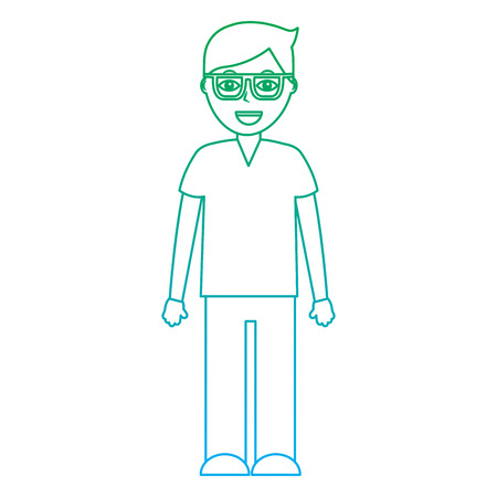 happy man with glasses icon image vector illustration design  green to blue ombre line