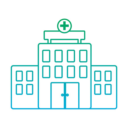 hospital healthcare icon image vector illustration design  green to blue ombre line