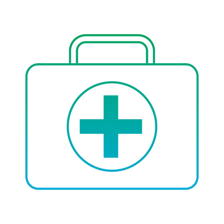 First aid kit healthcare icon image vector illustration design green to blue ombre line 向量圖像