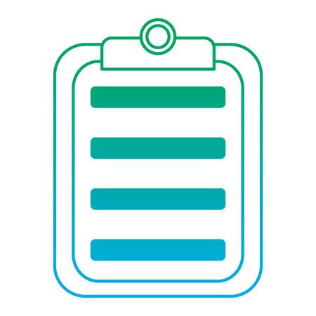 Klembord met papier pictogram afbeelding vector illustratie ontwerp groen tot blauw ombre lijn