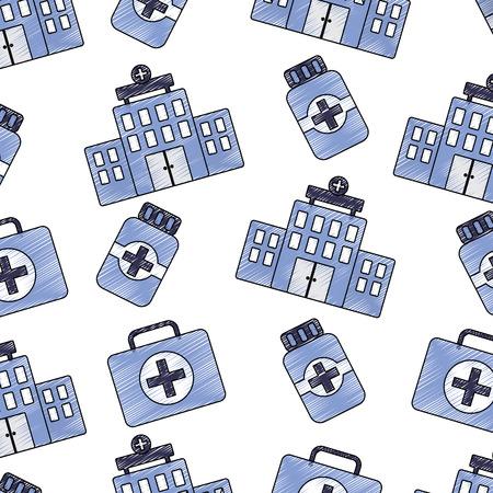 Hospital first aid kit medication bottle healthcare pattern image vector illustration design sketch style Stock Vector - 92179033