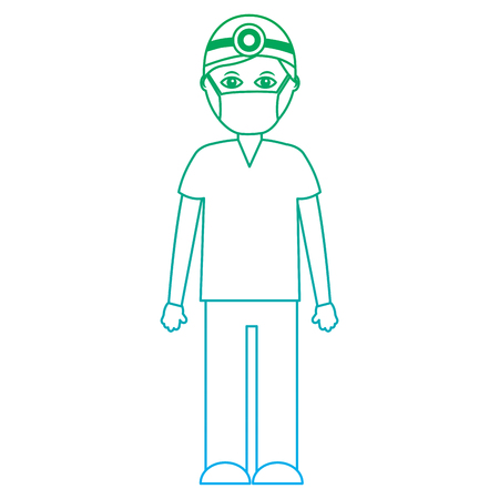 doctor healthcare icon image vector illustration design  green to blue ombre line Illustration
