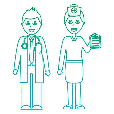 doctors man and woman  healthcare icon image vector illustration design  green to blue ombre line
