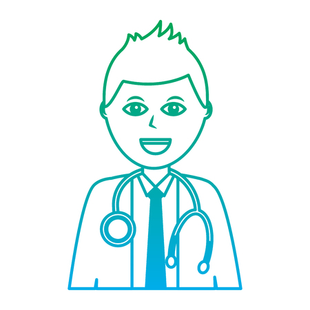 happy doctor healthcare icon image vector illustration design  green to blue ombre line