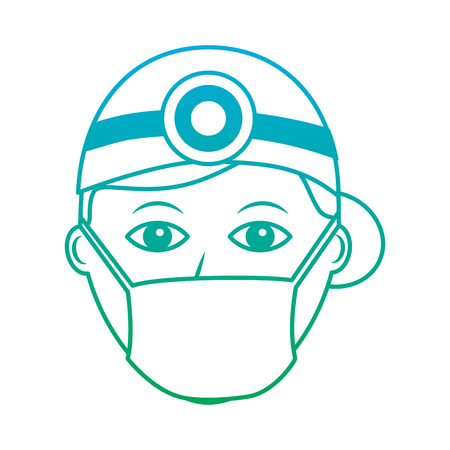 doctor woman  healthcare icon image vector illustration design  green to blue ombre line Illustration