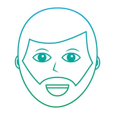 ひげアイコン画像ベクトルイラストデザイン緑と青のオンブレラインを持つ幸せな男  イラスト・ベクター素材
