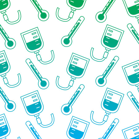 iv bag thermometer healthcare pattern image vector illustration design  green to blue ombre line Illusztráció
