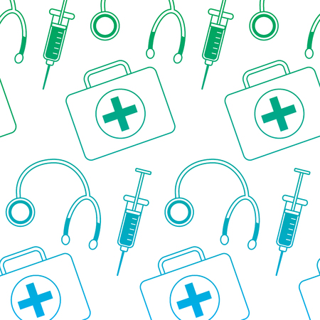 Stethoscope syringe first aid kit healthcare pattern image vector illustration design green to blue ombre line