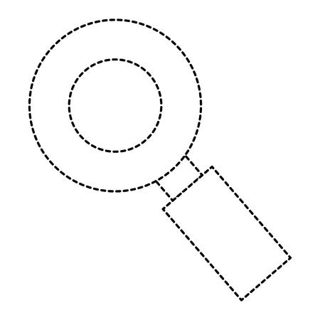 Vergrootglas geïsoleerd pictogram in het ontwerp van de gestippelde lijnenillustratie