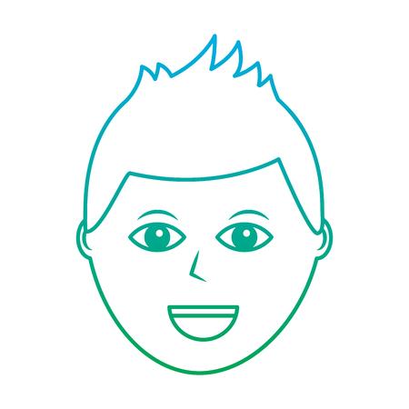 ハッピーマンアイコン画像ベクトルイラストデザイン 緑から青いオンブレライン