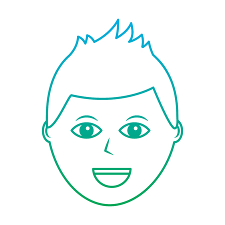 happy man icon image vector illustration design  green to blue ombre line