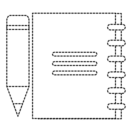 Notitieboekje met potloodpictogram in het ontwerp van de gestippelde lijnenillustratie Stock Illustratie