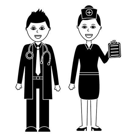 Coppia di professionisti dell'illustrazione di vettore del personale ospedaliero di medico Archivio Fotografico - 92182055