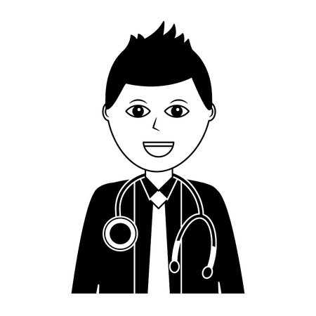 doctor physician medical staff portrait character vector illustration Ilustrace