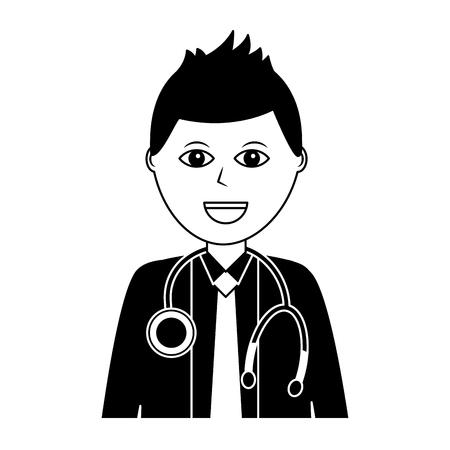 doctor physician medical staff portrait character vector illustration Illustration