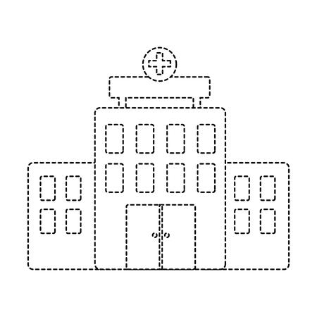 ziekenhuis gebouw architectuur gevel cross vector illustratie