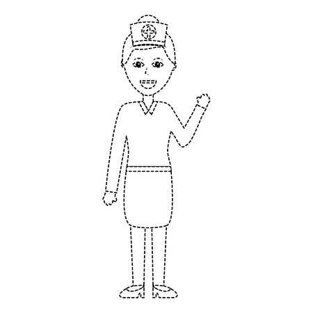 A standing female doctor medical professional vector illustration