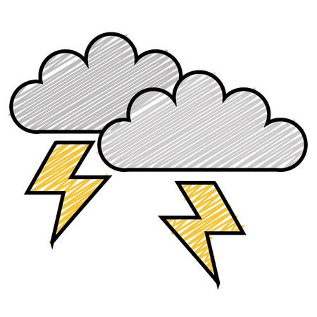 Clouds with electric ray icon illustration design