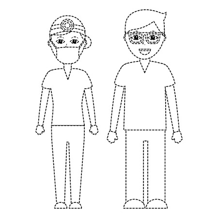 Professionals couple of doctor hospital staff vector illustration