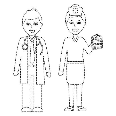 의사 병원 직원 벡터 일러스트 레이션의 전문가 부부