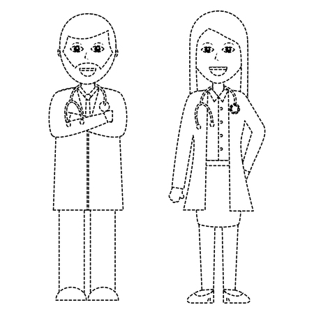 A professionals couple of doctor hospital staff vector illustration