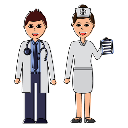 A doctors man and woman healthcare icon image vector illustration design