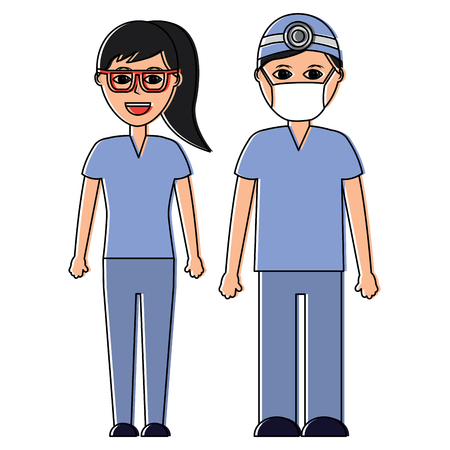 A doctors man and woman healthcare icon image vector illustration design Stock Vector - 92191177