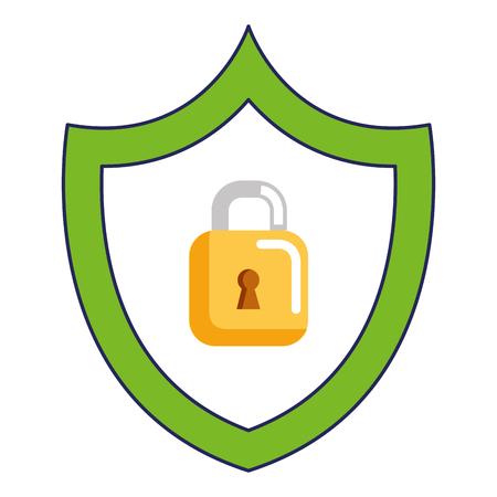 shield with safe secure padlock vector illustration design Illustration