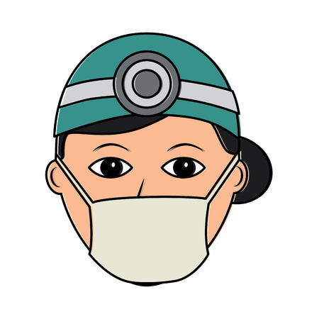 Female doctor wearing mask icon.