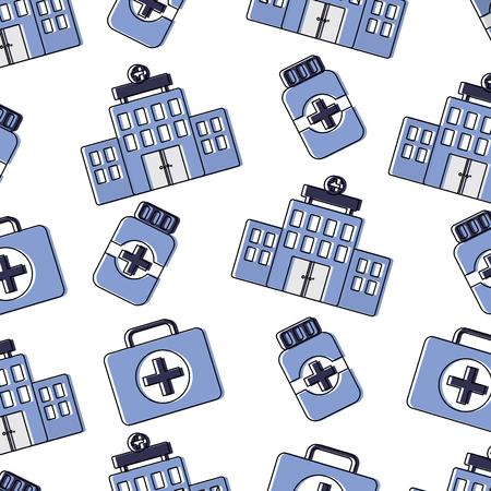 A hospital first aid kit medication bottle healthcare pattern image vector illustration design Illustration