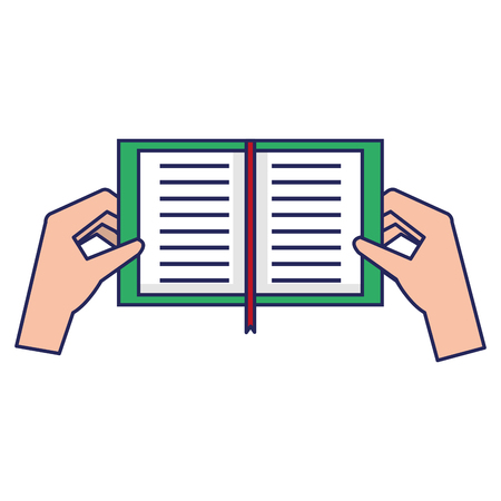 Hands holding a book icon. Illustration
