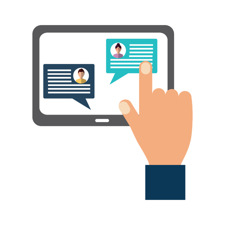 hand with tablet messages on screen icon image vector illustration design