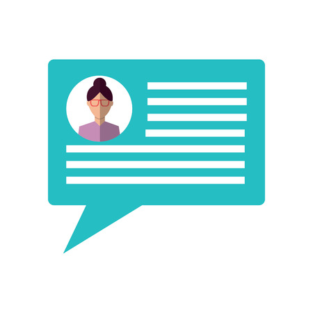 A chat conversation bubble with user profile icon image vector illustration design