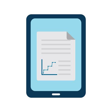 画面アイコンにグラフチャートを持つタブレット。